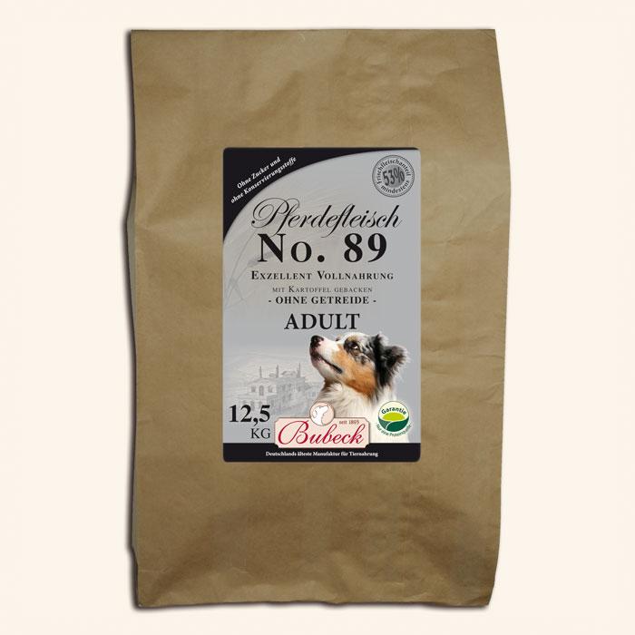 Nr. 89  super premium klasės šunų maistas su arkliena (min. 53%). Maisto formulė tinka balto kailio šunims.